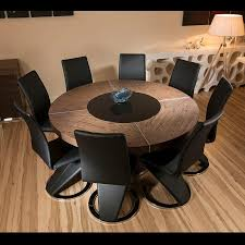 modern dining chairs plus large round dining table for 6 people with elm wood dining table and 8 high black faux leather chairs