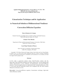 pdf linearization technique and its to numerical solution of bidimensional nar convection diffusion equation