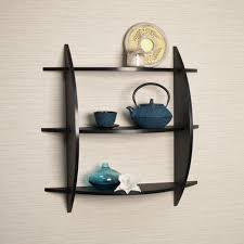 ... Diy Decorative Wall Shelving Ideas Modern Style House Design Ideas  Cream Colored Wall Black Wooden Material ...