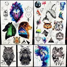племенной лев лесной волк поддельные водонепроницаемый временные татуировки
