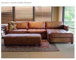 Artistic Leather Amaretto Sofa Ottoman Town Country