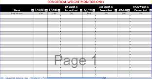 weekly weigh in charts biggest loser spreadsheet biggest loser excel spreadsheet