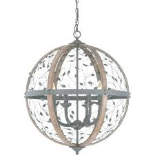 wood orb lighting chandelier large round wooden rustic intended for
