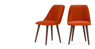 orange chairs a set of 2 dining chairs in flame orange velvet orange chair uk