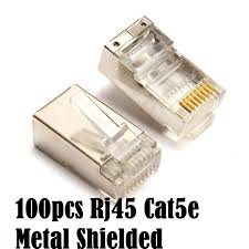 <b>100 Pcs Metal</b> Shielded Rj45 rj 45 Connectors Cat5e Ad-Link ...