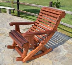 Outdoor Wooden Rocking Chair with Built-in Lower Back Support