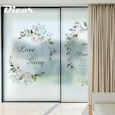 Flower Design Glass Door Vinyl Glass Stickers Rose Flower Logo Design Frosted Window
