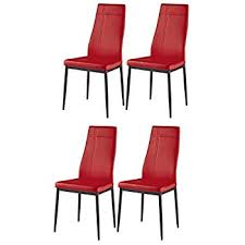 kings brand furniture dining room kitchen side chairs set of 4 red