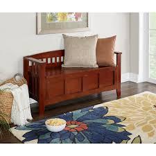 Linon Home Decor Walnut Storage Bench with Split Seat WALZ 01