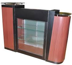 cherry reception desk with black glass top an901c