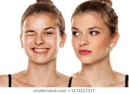parison portrait of young woman before and after makeup on white background