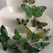 garden greens. Hand Painted Butterfly Cake Decor Set In Garden Greens-Cake Toppers-Here Comes The Greens N