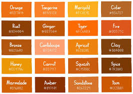 Shades Of Orange Color Chart Shades Of Orange Color Chart For Interior Design In 2019