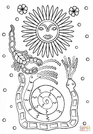 Small Picture Huichol Art Sun Scorpion and Snakes coloring page Free