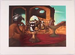 salvador dali signed slave market with the disappearing bust of voltaire 21x29 original surrealist