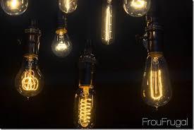 bare edison bulb chandelier lit up