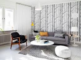 Patterned Curtains Living Room Patterned Rug Combined By Blue Curtains Round Plywood Coffee Table