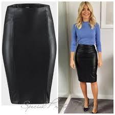 black faux leather pencil skirt bik bok las knee length rrp 30 xs s m new