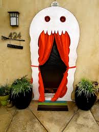 halloween door decorations | 8243f Ghost door decor Halloween Decoration  Ideas For Creepy Curb .