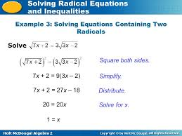 holt mcdougal algebra 2 solving radical equations and inequalities example 3 solving equations containing two
