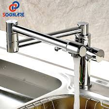 2019 Sognare Solid Brass Kitchen Sink Taps Rotatable Chrome Kitchen