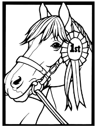 Small Picture Horse Coloring Page of Show Pony Proudly Wearing Blue Ribbon Arc