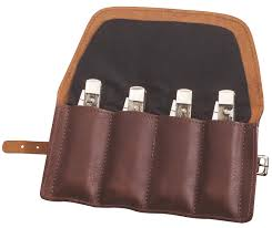 case gentleman s leather knife roll holds 4 knives