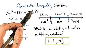 quadratic inequality solution in interval notation visualizing algebra