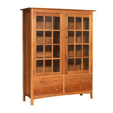 modern shaker china cabinet made in the usa solid wood bookcase glass doors and drawers green american luxury