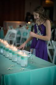 candle lighting piece for beach themed bat mitzvah party photo courtesy of robin smith