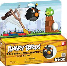 Angry Birds schwarzer Vogel mit Schleuder und Schwein, Ei, Bausteine, der  Karton dient als Aufsteller: Amazon.de: Spielzeug