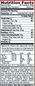 here are the nutritional facts about cheez its