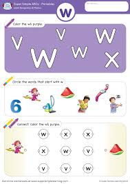 Click on any of the items below to download. Letter Recognition Phonics Worksheet W Lowercase Super Simple