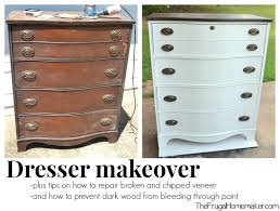 painting wood furniture whiteDresser makeover how to fix chipped veneer  deal with wood stain