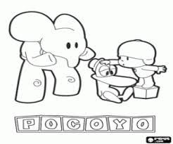 Kleurplaat Pocoyo Met Zijn Vrienden Elly En Pato Kleurplaten