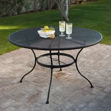 belham living stanton 48 in round wrought iron patio dining table by woodard textured black hayneedle
