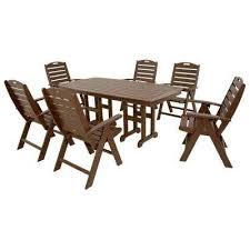 plastic patio furniture. Yacht Club Vintage Lantern 7-Piece High Back Plastic Outdoor Patio Dining Set Furniture T