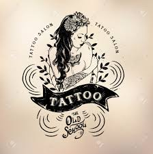 Vector Tattoo Studio Logo Templates On Dark Background Cool