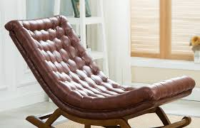 room interior and decoration medium size modern design rocking lounge chair leather and wood for home