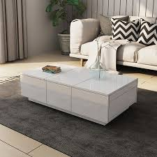 drawer coffee table cabinet slide top