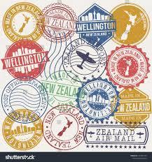 Product Design Wellington Wellington New Zealand Set Stamps Travel Stock Vector