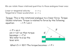 we can relate these rotational quantities to those ogues linear ones linear or tangential velocity