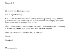 Notice From Work Example Sample Of A 2 Week Template Word