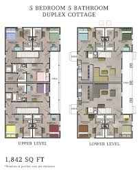 Bold Design Ideas Small Duplex Floor Plans 5 Narrow Lot House Two Floor Plans For Duplexes