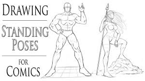 how to draw standing poses for ic book heroes