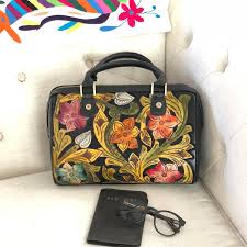 tooled leather purse mexican leather bag hand tooled leather bag mexican handbag carved leather tooled purse tooled flowers