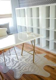 desk ikea high gloss linnmon tabletop in white trestle legs spray painted gold and white