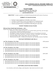 nursing assistant objective for resume examples shopgrat cna chronological resume template for certified nursing assistant summary of qualifications