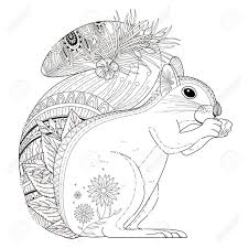 Adorable Squirrel Coloring Page In Exquisite Line Royalty Free