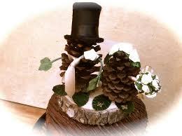 Pine Cone Wedding Table Decorations Pine Cone Wedding Topper Bride Groom Rustic Fall Weddings Rustic